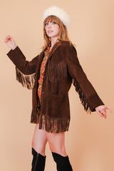 Vintage 1970's Sable Chocolate Suede Fringe Jacket