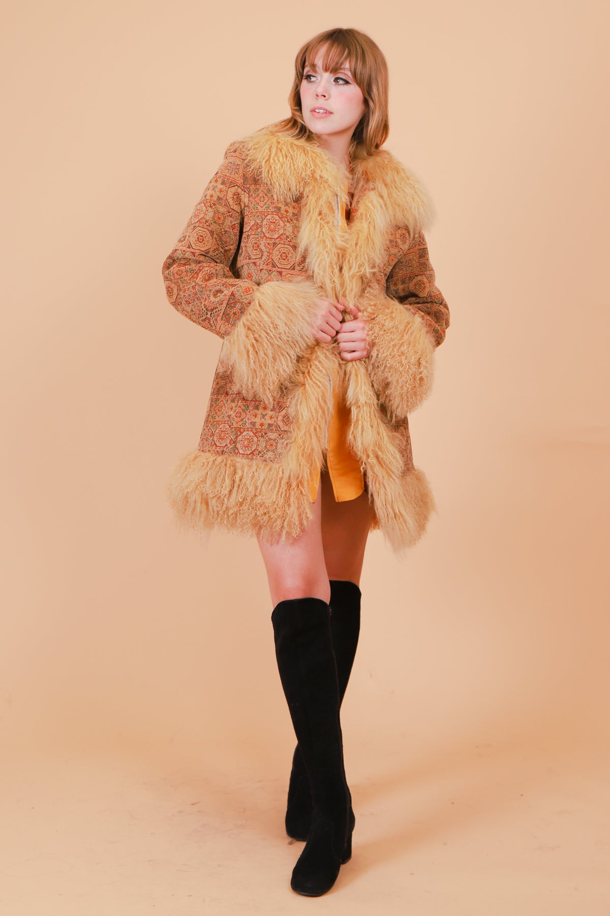 Vintage 1970's Harvest Moon Tapestry Fur Coat