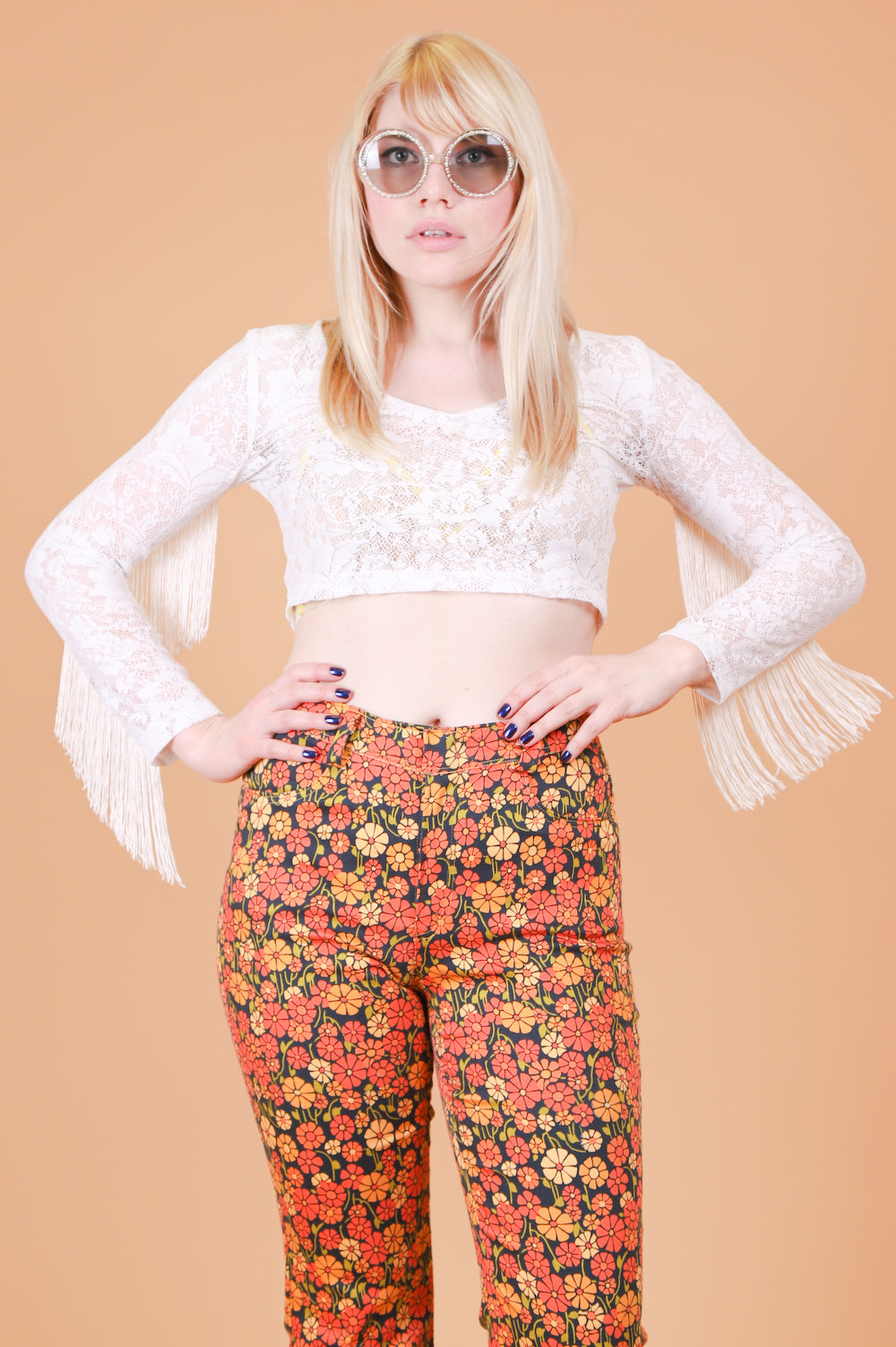 Vintage 1970's Stevie Cream Fringe Top