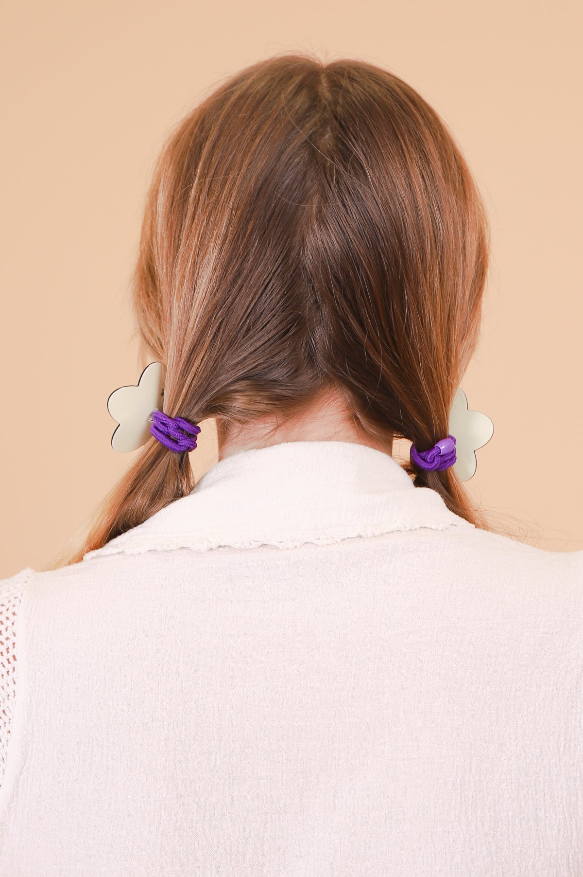 Flower Ponytail Tie in Cream