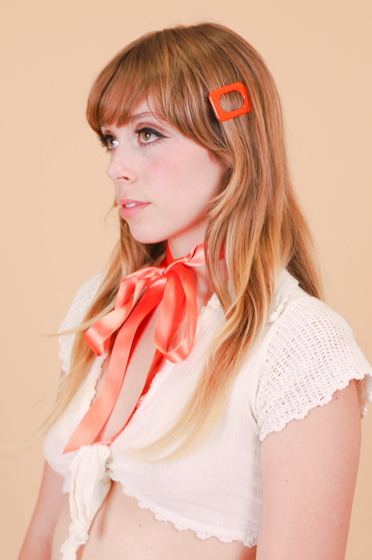 Rectangle Hair Clip in Mod Tangerine