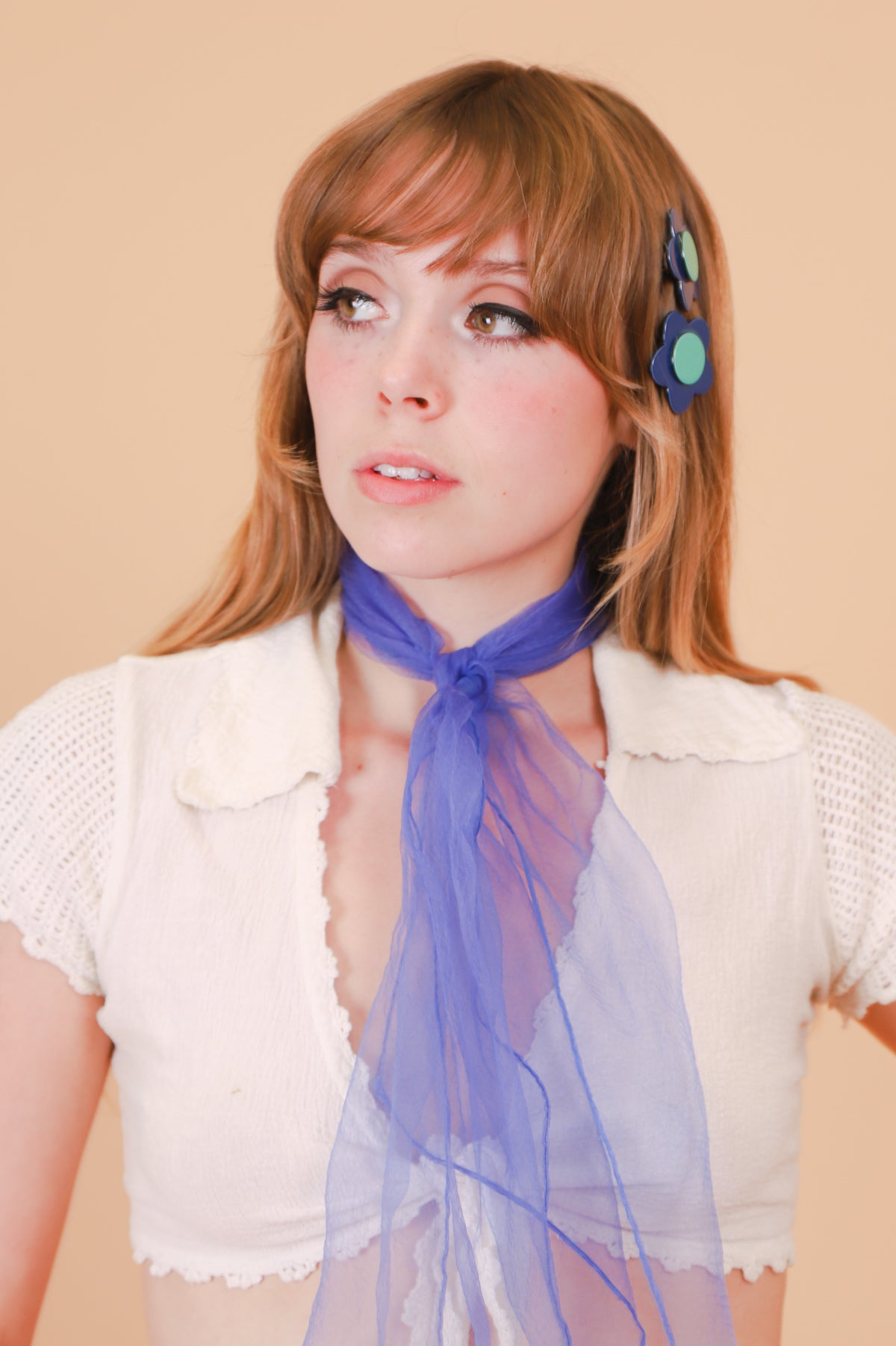 Bibi Flower Hair Clip in Navy