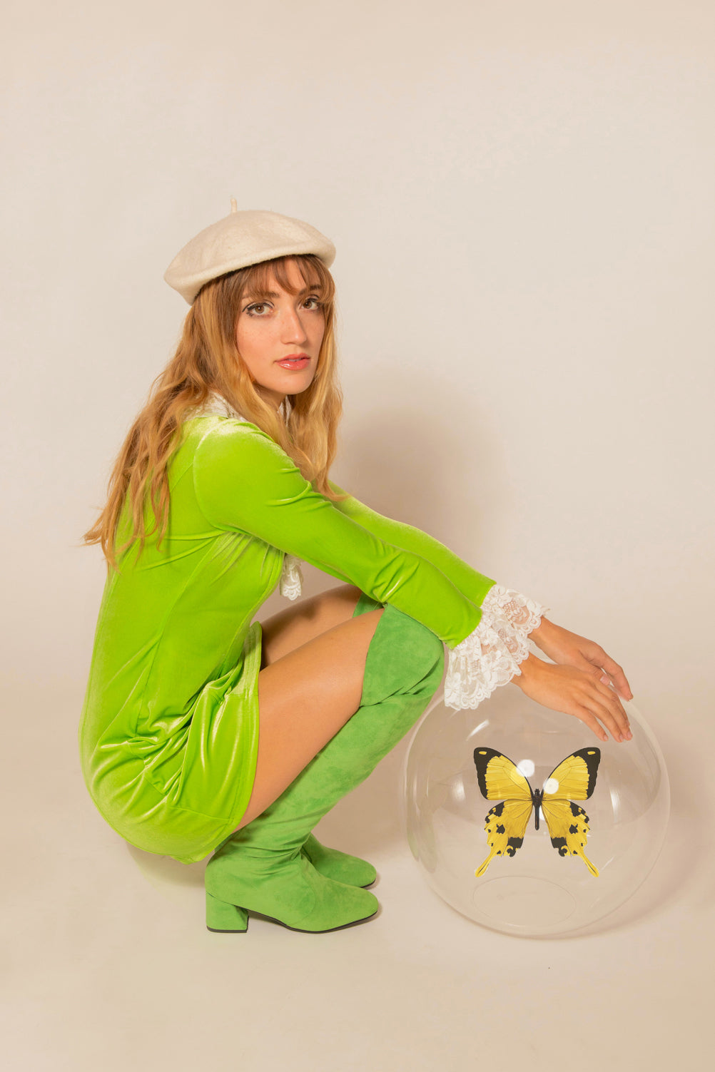 Lady Godiva Mini-Dress in Lime