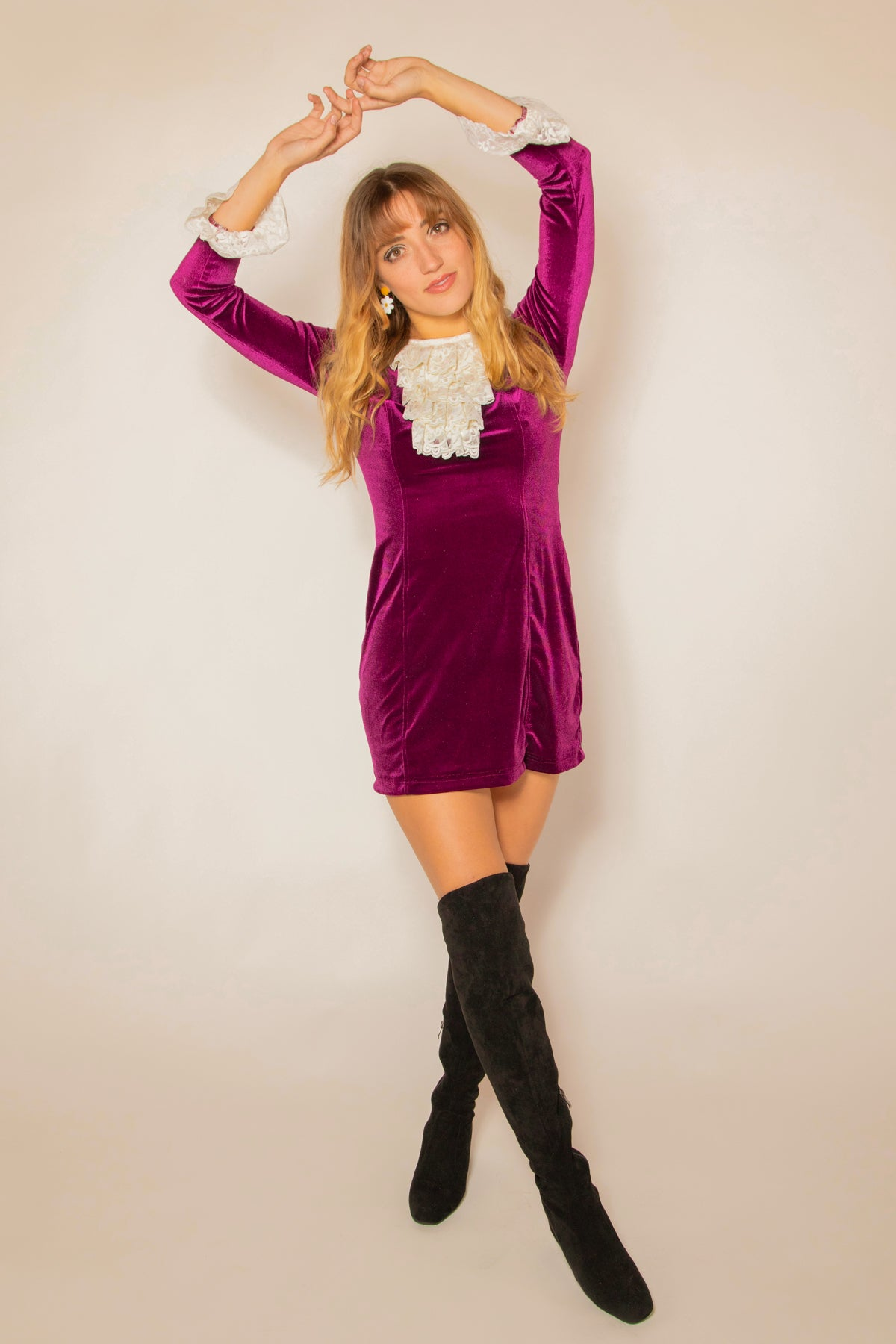 Lady Godiva Mini-Dress in Plum