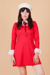 Vintage 1960's Dolly Polly Cherry Mini-Dress