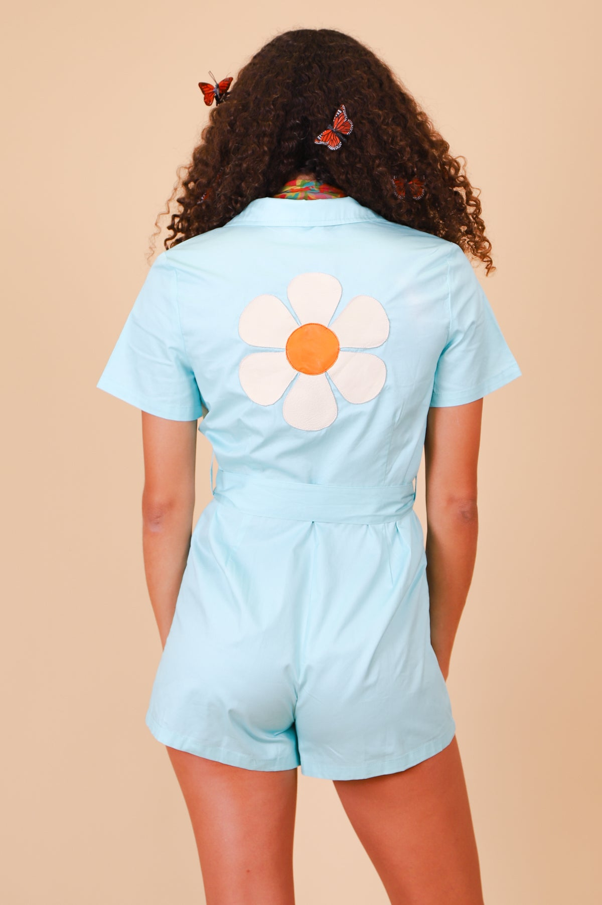 Vintage Daisy Powder Blue Romper