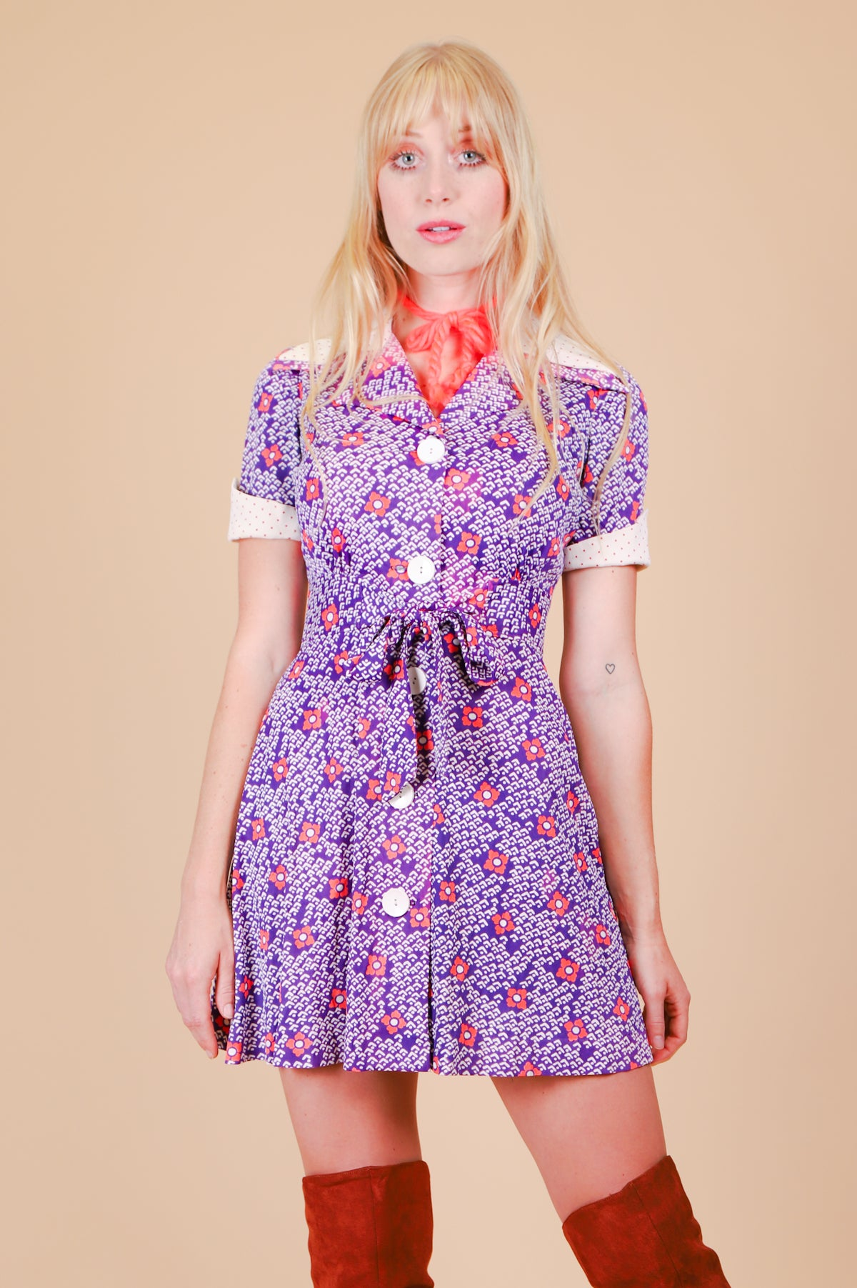 Vintage 1970's Grape Jam Daisies Mini-Dress