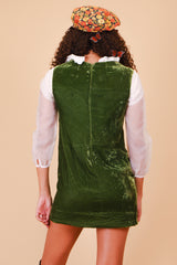 Vintage 1970's Green Grass Silk Velvet Mini-Dress