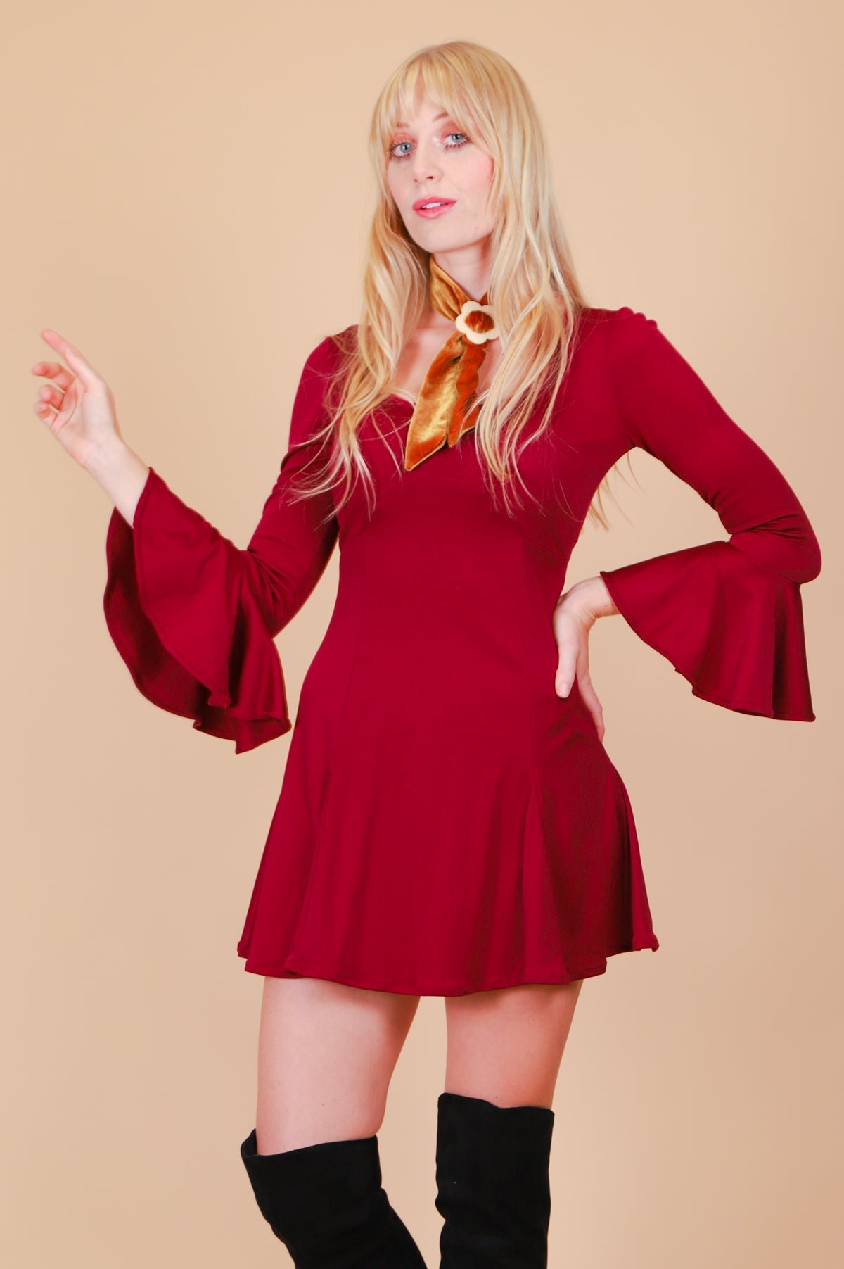 Vintage 1970's Love Witch Bell-Sleeve Mini-Dress