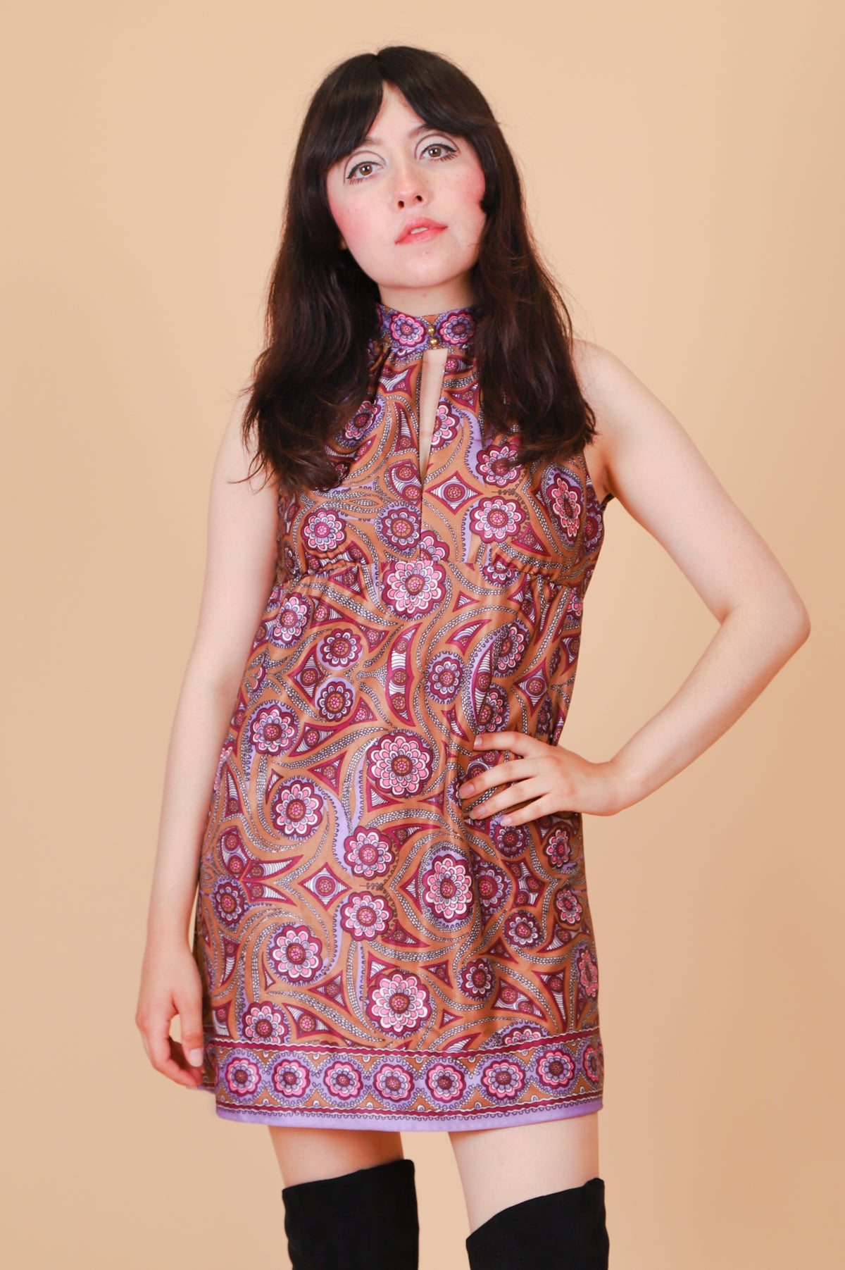 Vintage 1970's Iris Incense Mini-Dress