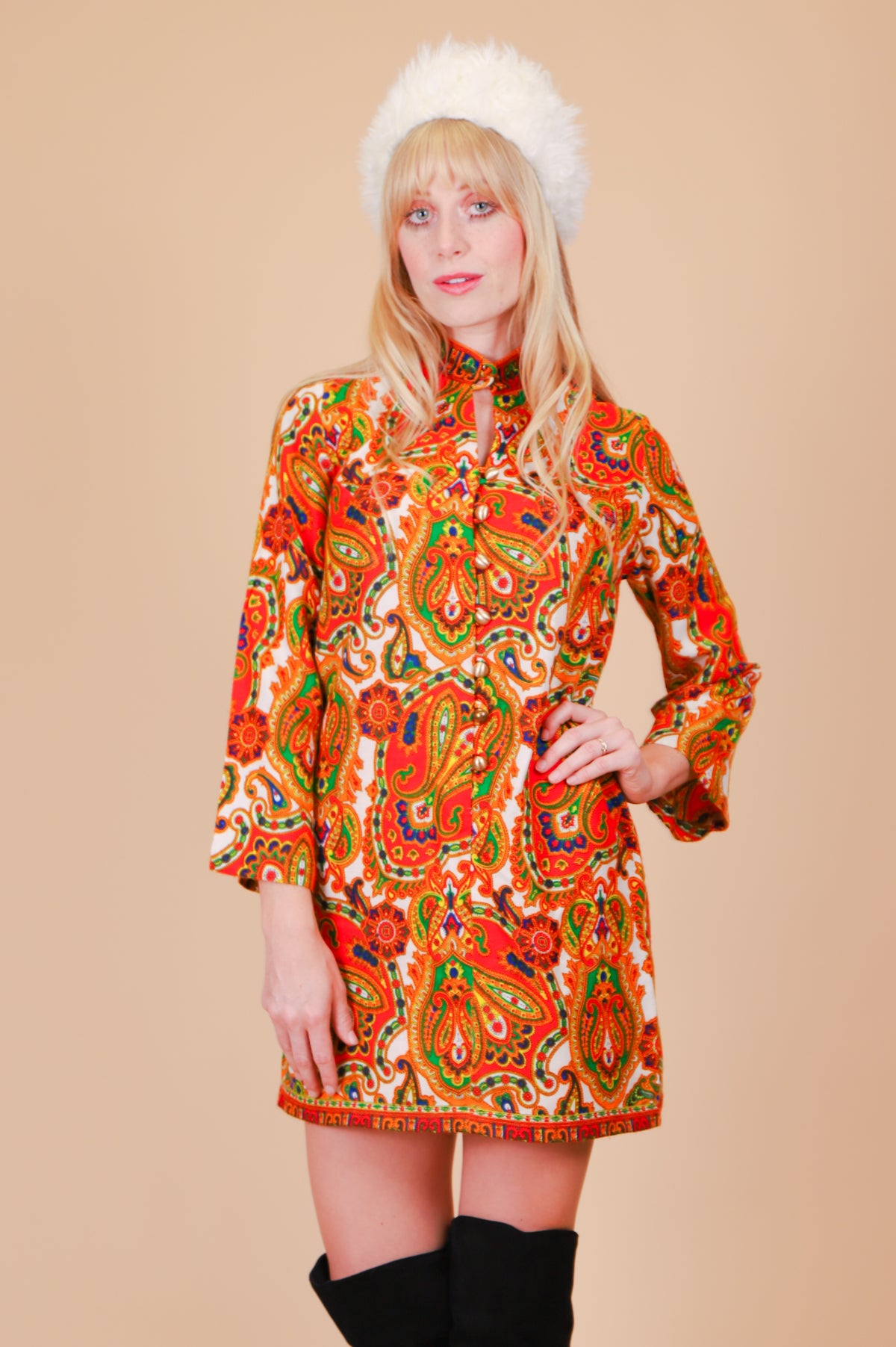 Vintage 1970's Once Upon a Time Paisley Mini-Dress