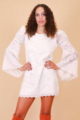 Vintage Sharon Lace Bell-Sleeve Mini-Dress
