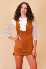 Vintage 1970's California Dreamin' Caramel Suede Mini-Dress