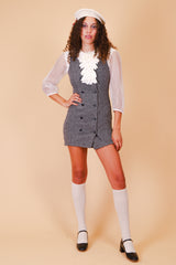 Vintage 1970's Clueless Black and White Mini-Dress