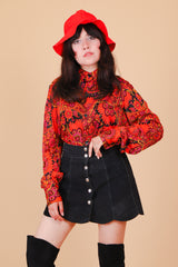 Vintage 1960's Electric Strawberry Garden Shirt