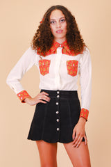 Vintage 1960's Crimson and Cream Long-Sleeve Top