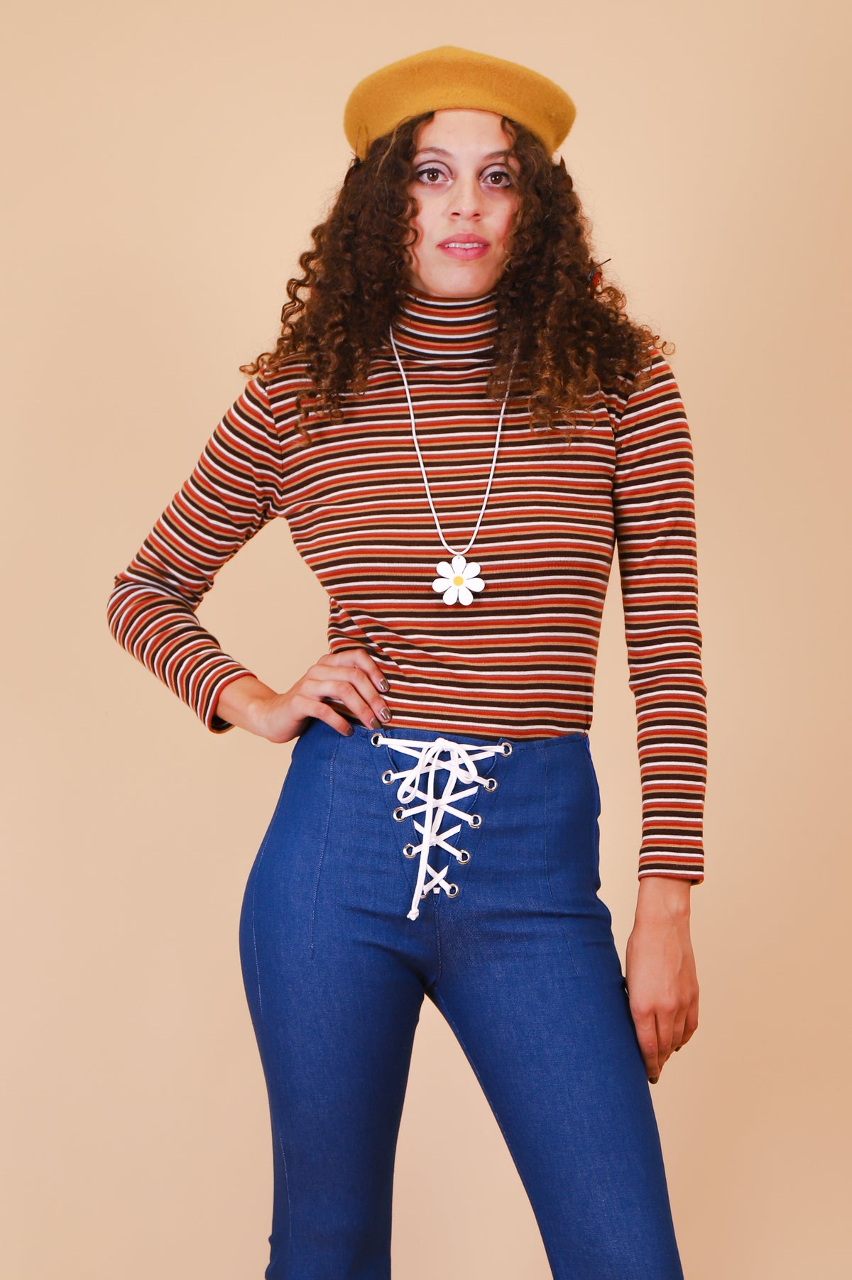 Vintage 1970's All The Leaves Are Brown Stripe Turtleneck