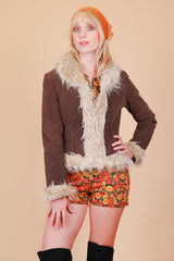 Vintage 1970's Buell Chocolate Suede Fur Coat