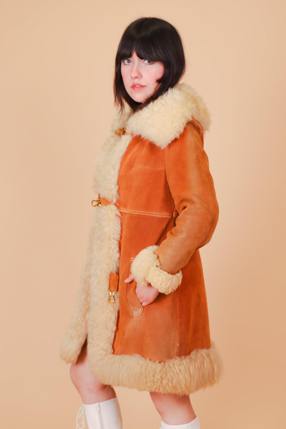 Vintage 1970's Along Comes Mary Caramel Suede Fur Coat