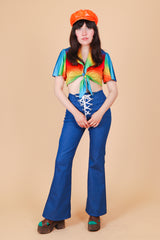 Vintage 1970's Rainbow Connection Crop Top