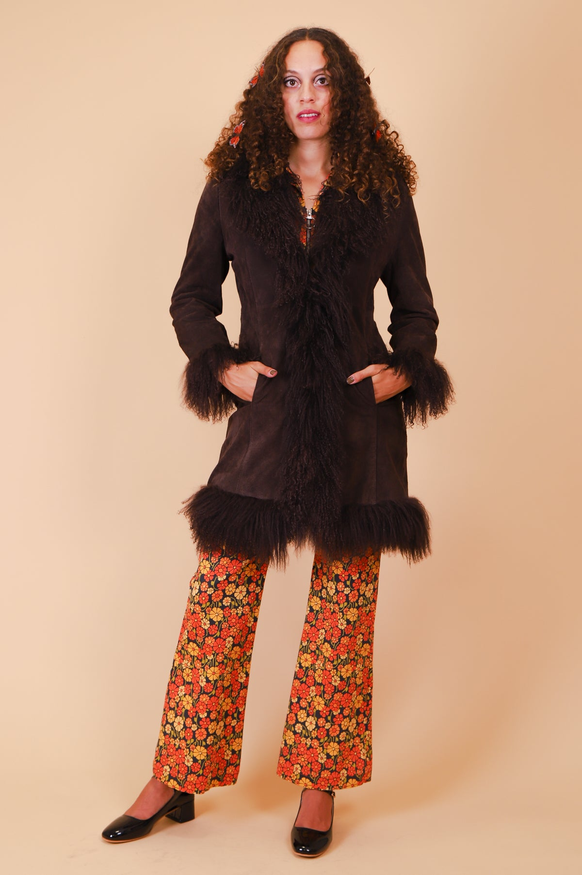 Vintage 1970's Norwegian Wood Chocolate Suede Fur Coat