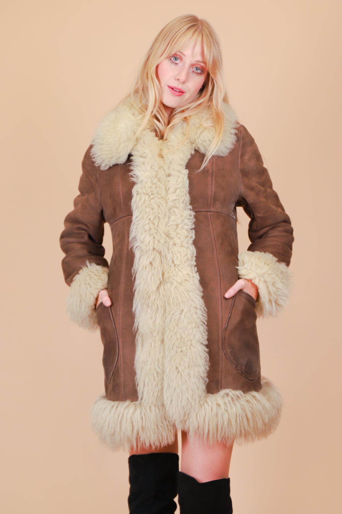 Vintage 1970's Cocoa Sheepskin Fur Coat
