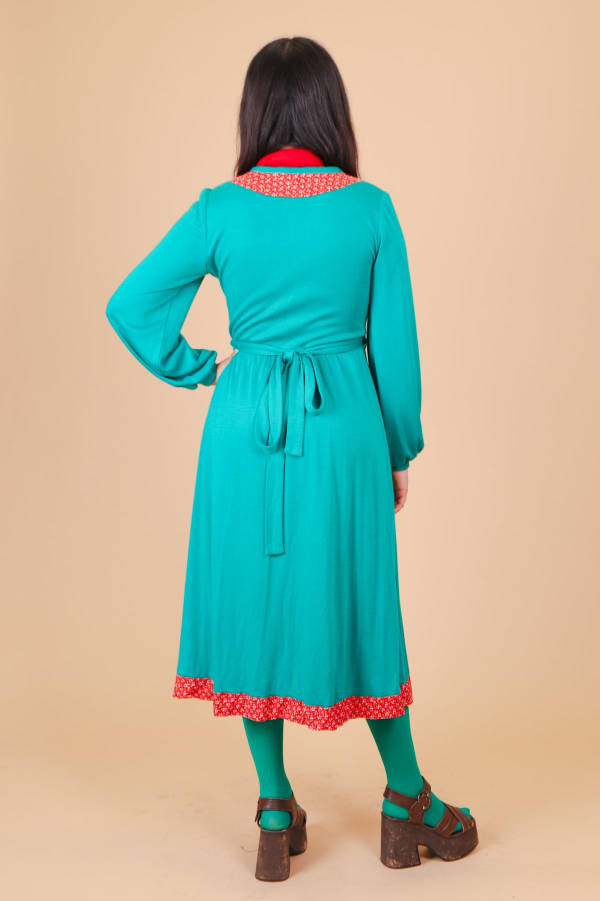Vintage 1970's Watermelon Wrap Midi-Dress