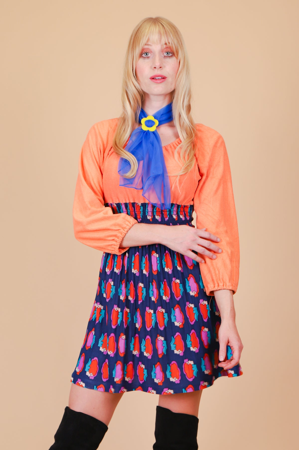 Vintage 1970's Psychedelic Faces Creamsicle Mini-Dress