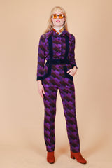 Vintage 1970's Electric Violet Two-Piece Set