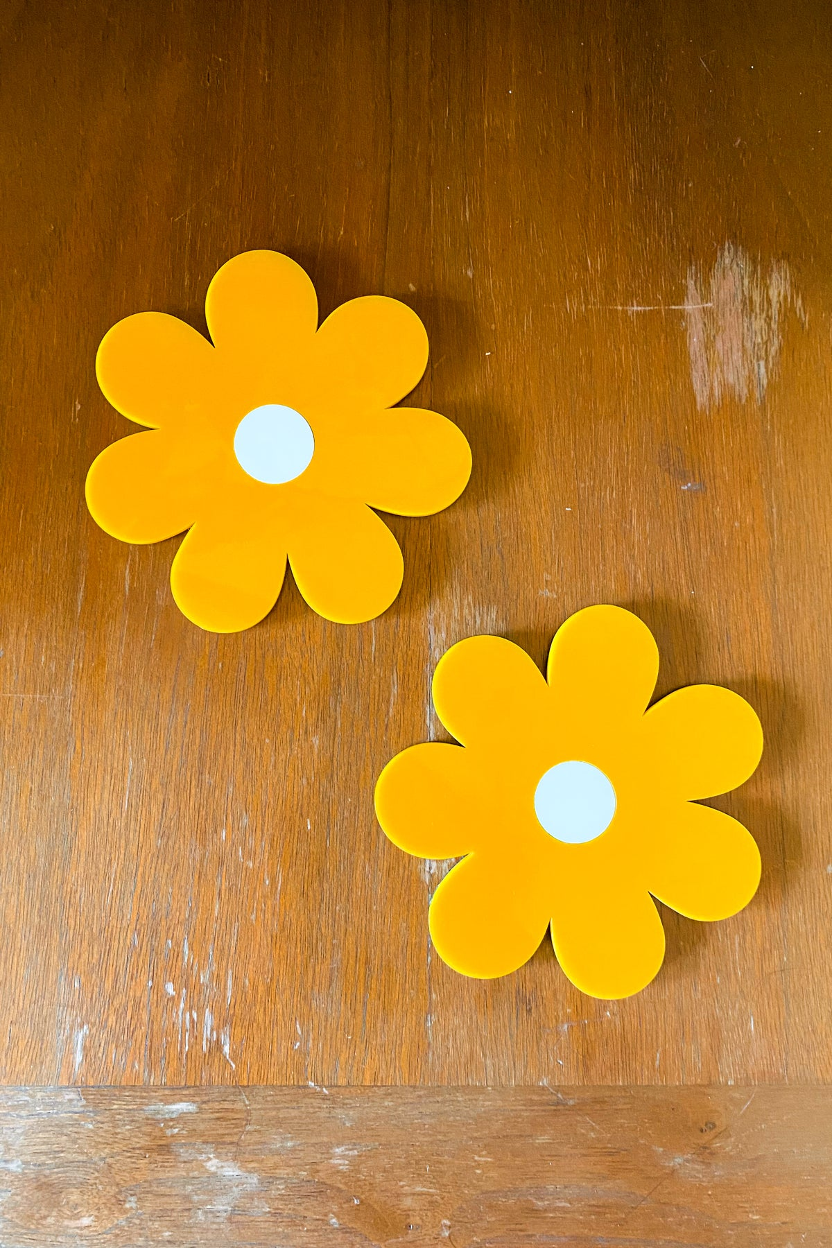 Daisy Coasters in Mustard
