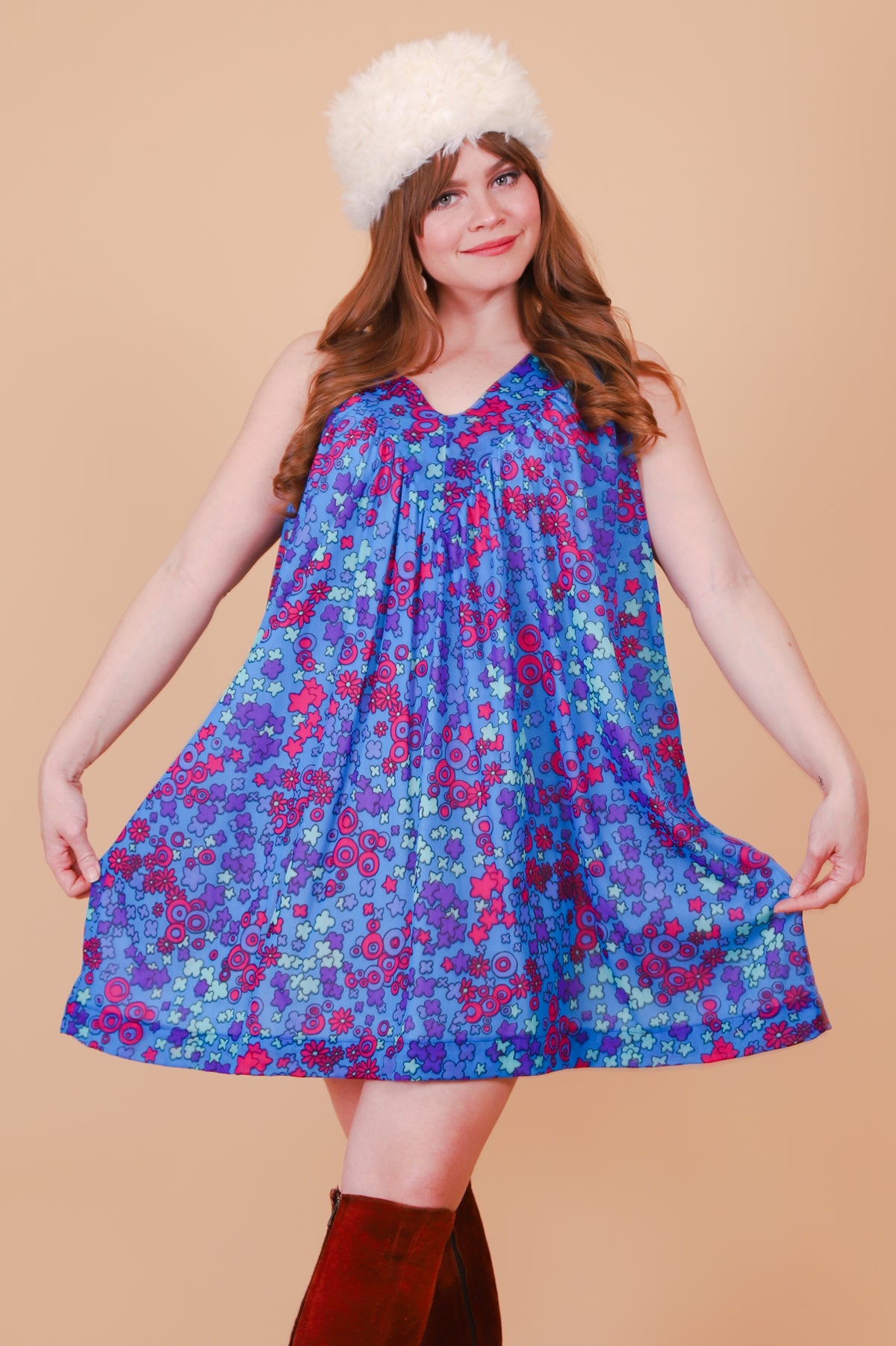 Vintage 1970's Psychedelic Electric Berry Mini-Dress