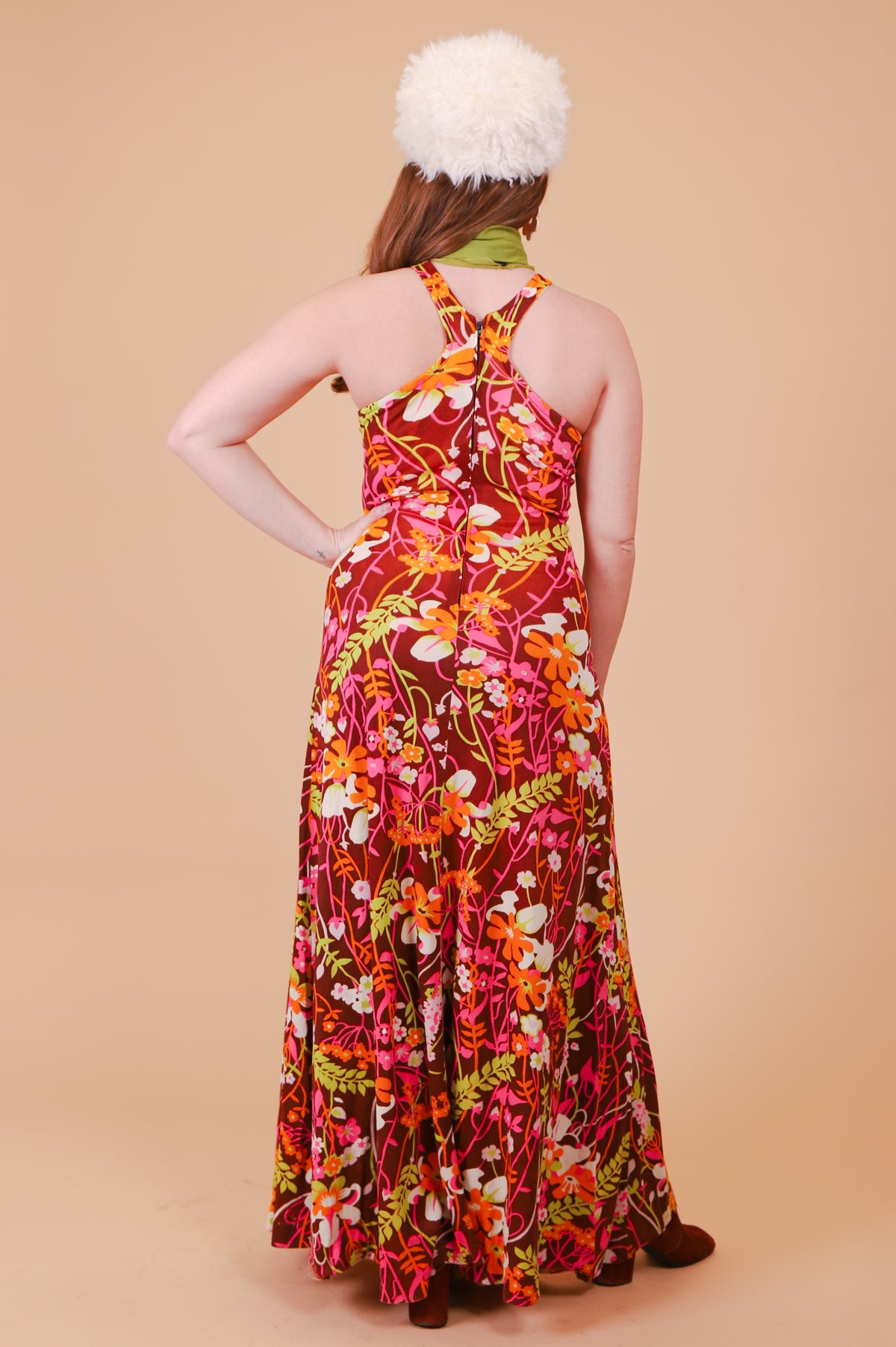 Vintage 1970's Cinnamon Floral Garden Maxi-Dress