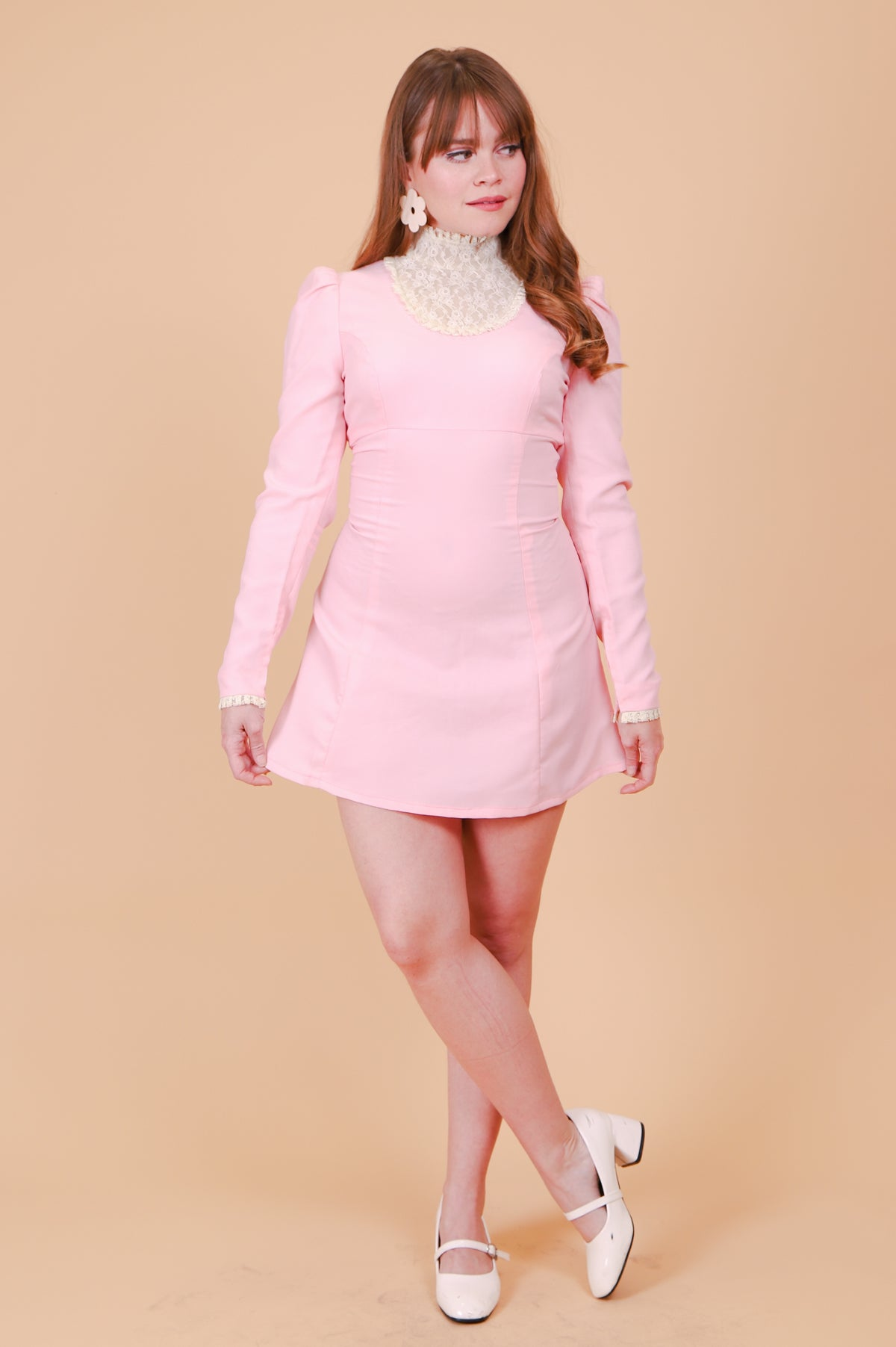 Vintage 1970's Eleanor Powder Pink Mini-Dress