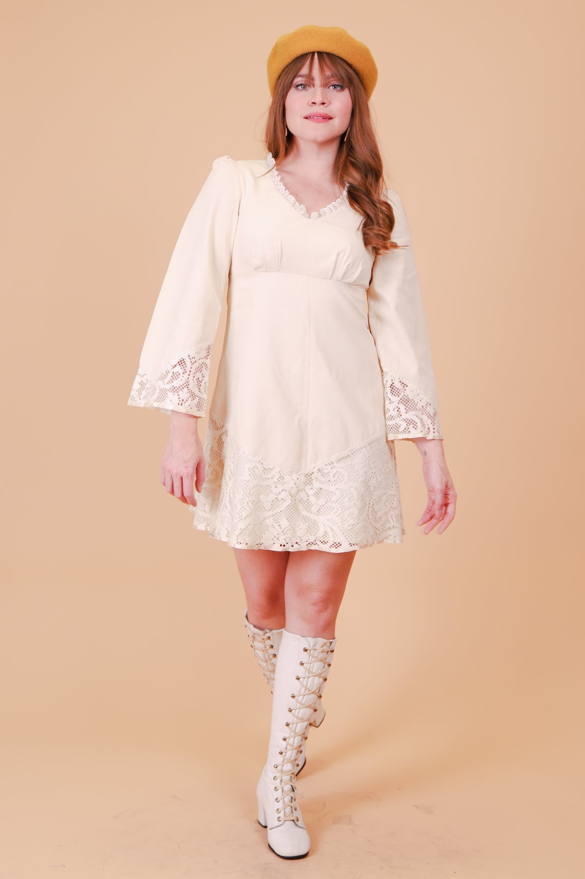 Vintage 1970's Words Of Love Cream Mini-Dress