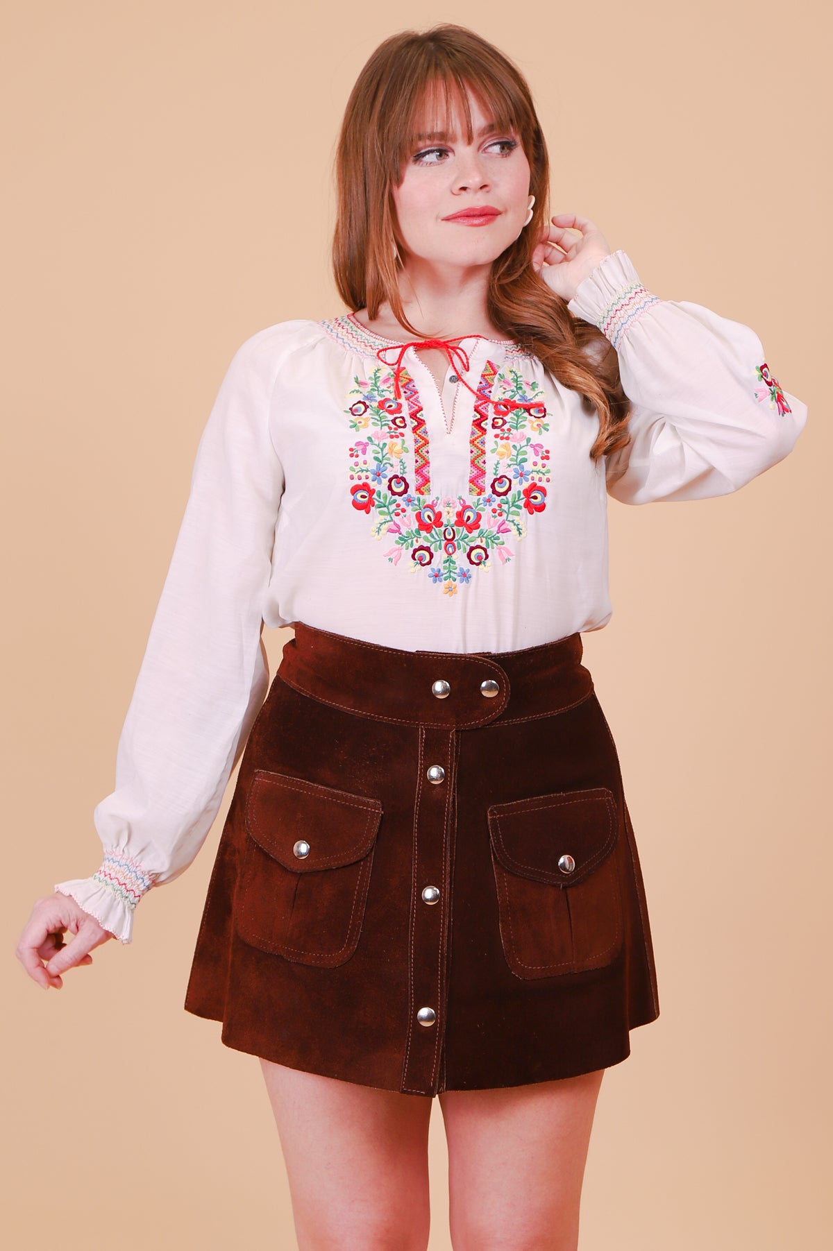 Vintage 1970's Cocoa Suede Mini-Skirt