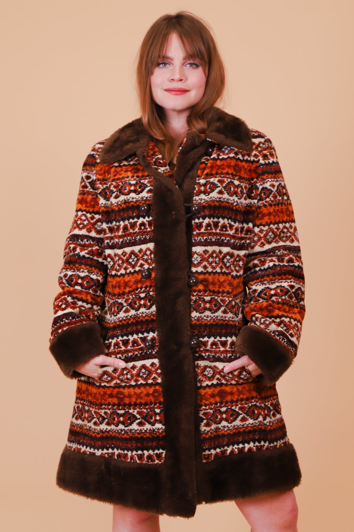 Vintage 1970's Magic Carpet Ride Tapestry Fur Coat
