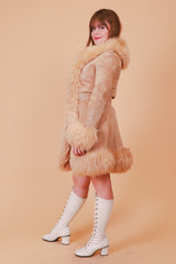 Vintage 1970's Light Of Love Tan Suede Fur Coat