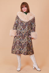 Vintage 1970's Carpets of Tapestry Fur Coat