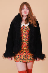 Vintage 1970's Paint It Black Suede Fur Coat