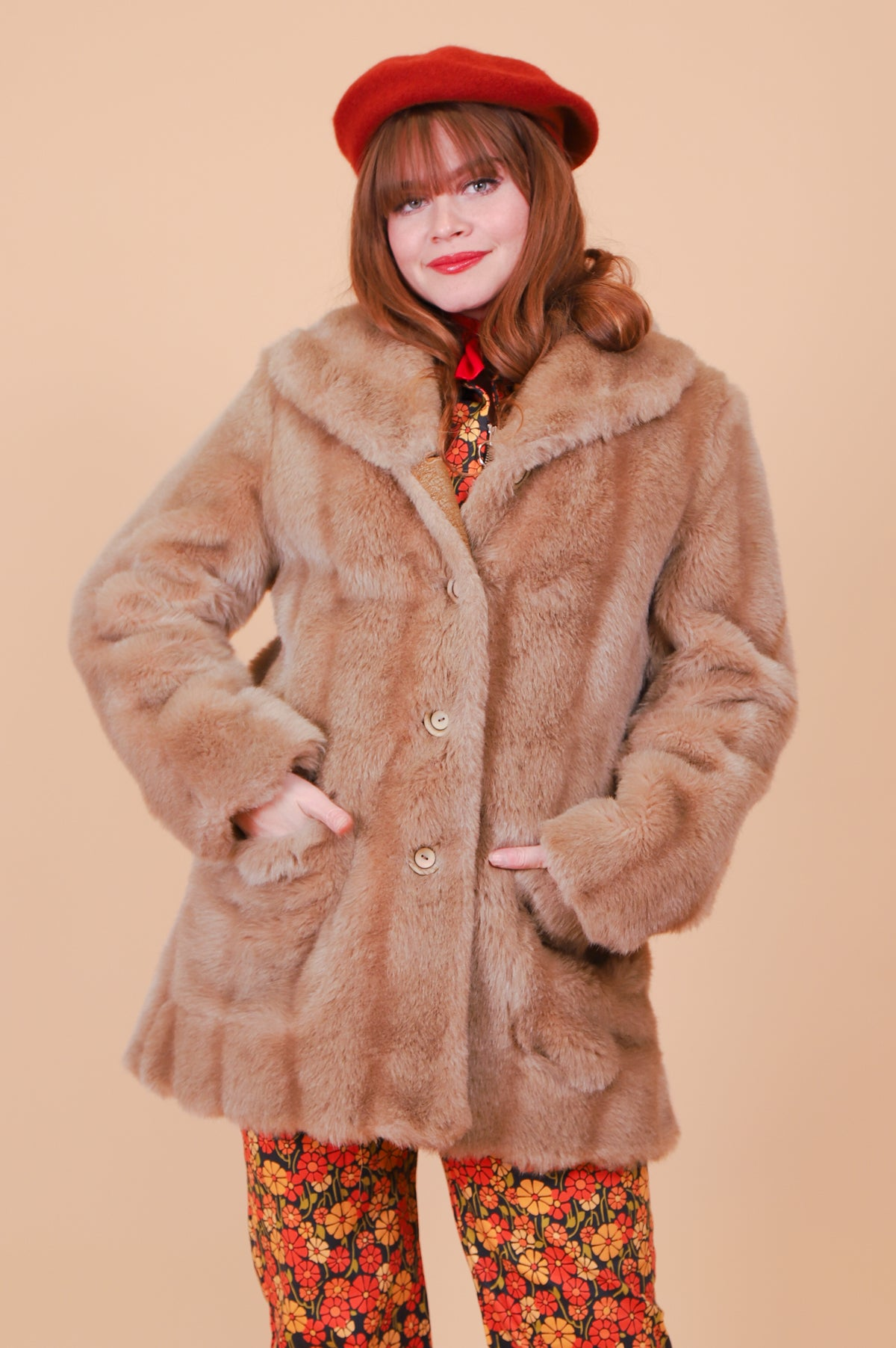 Vintage 1970's Bardot Tan Vegan Fur Coat