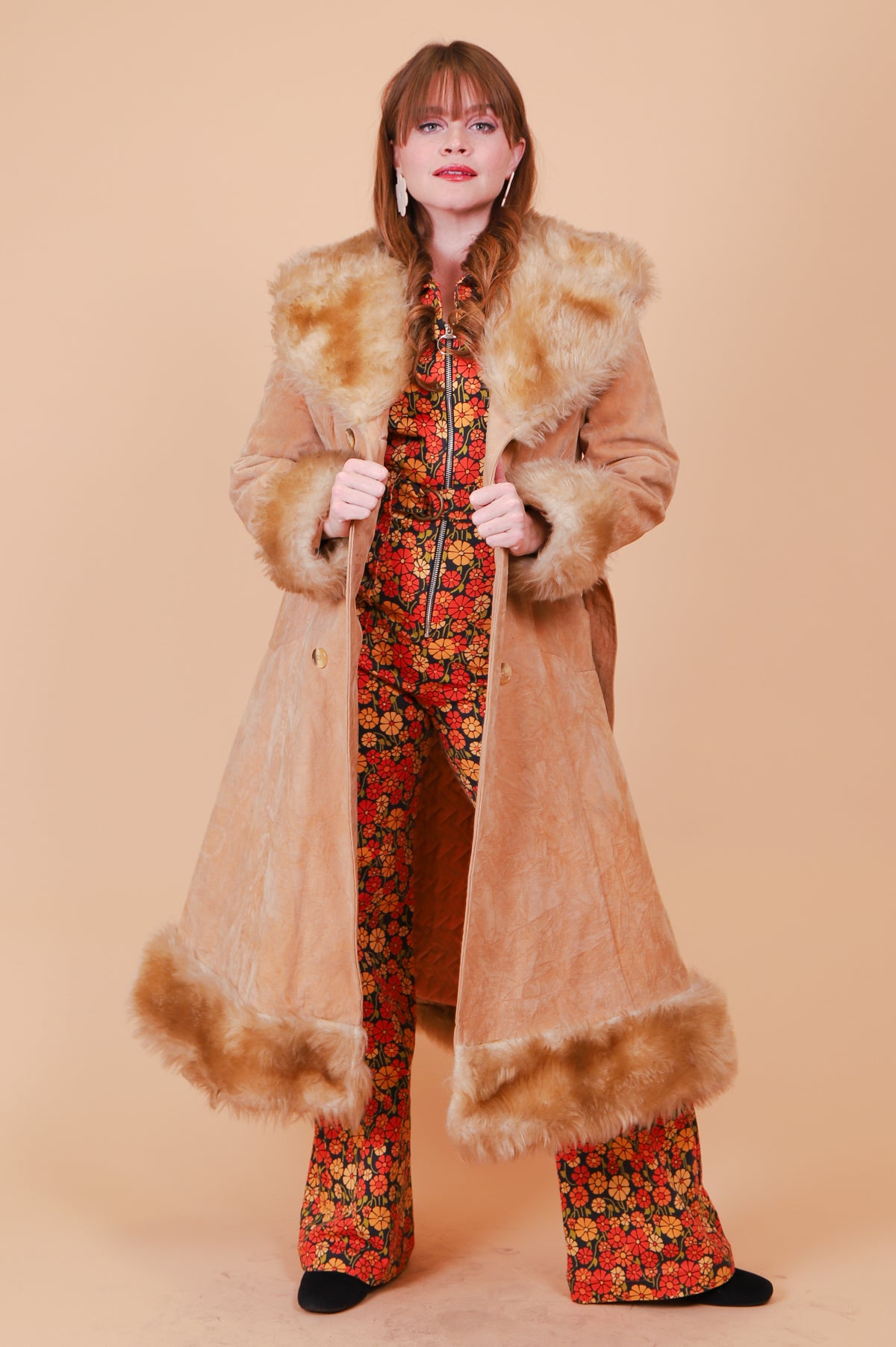 Vintage 1970's Bebe Princess Vegan Suede Fur Coat