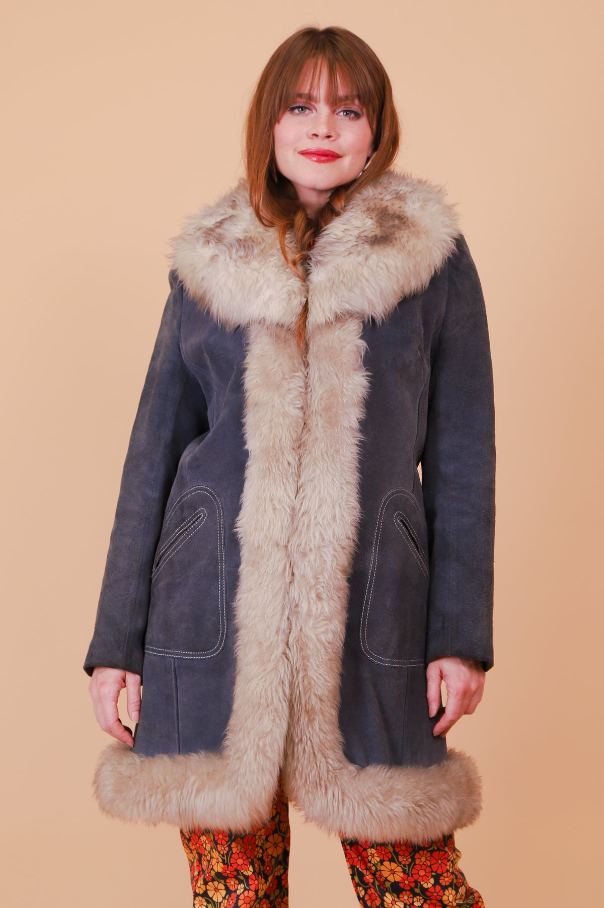 Vintage 1970's Moonshadow Grey Suede Fur Coat