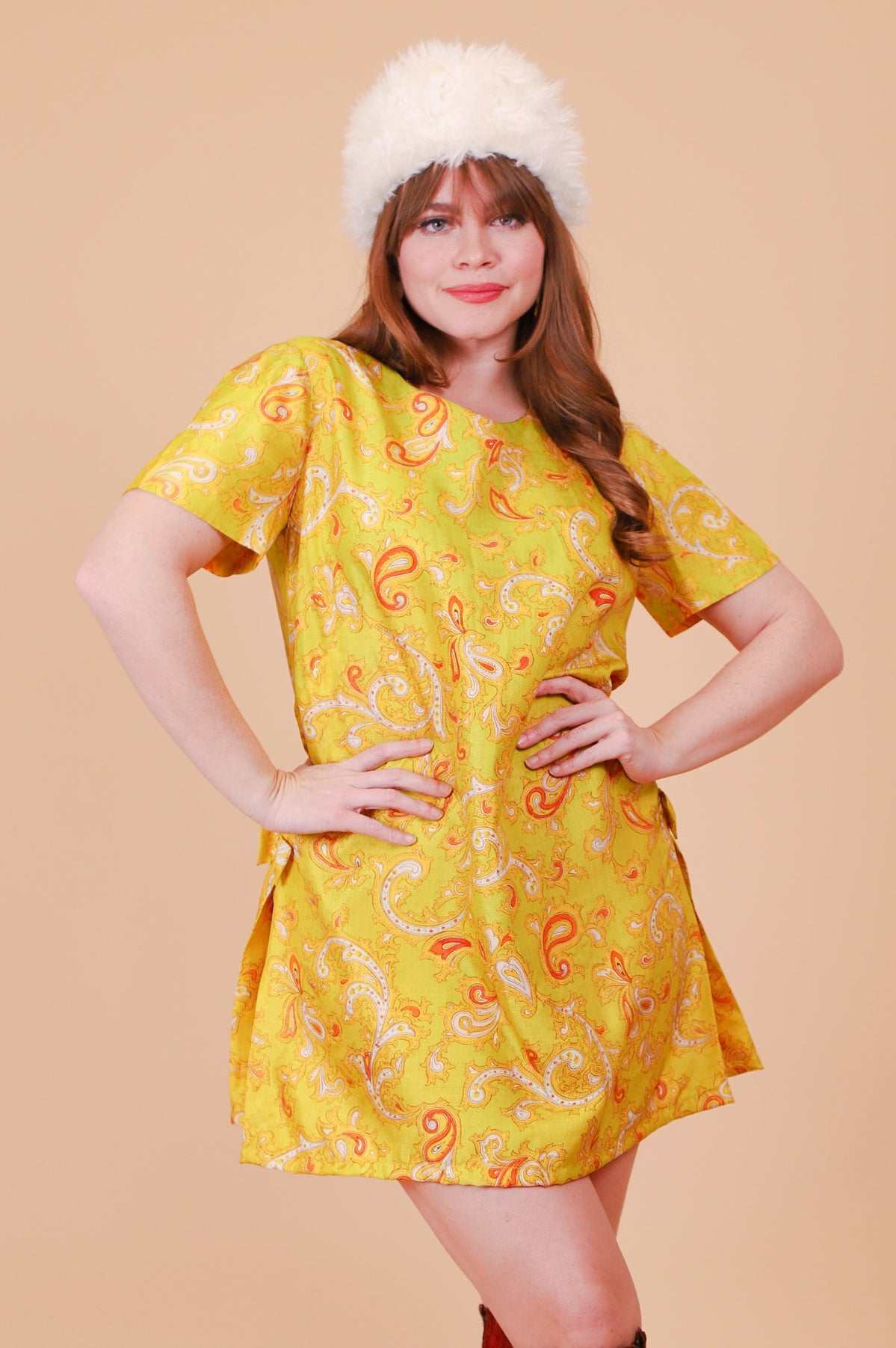 Vintage 1970's Lime Tambourine Paisley Mini-Dress