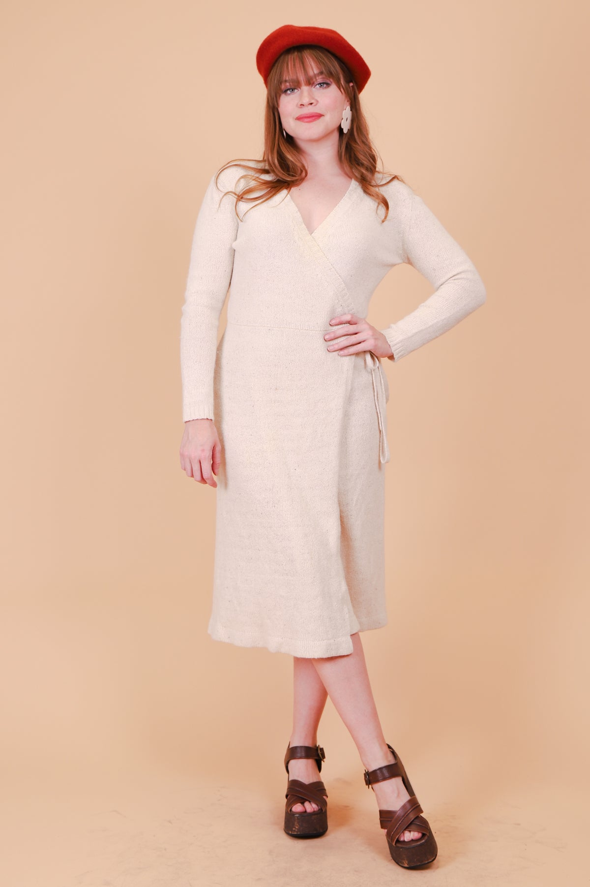 Vintage 1970's Oatmeal Wrap Midi-Dress