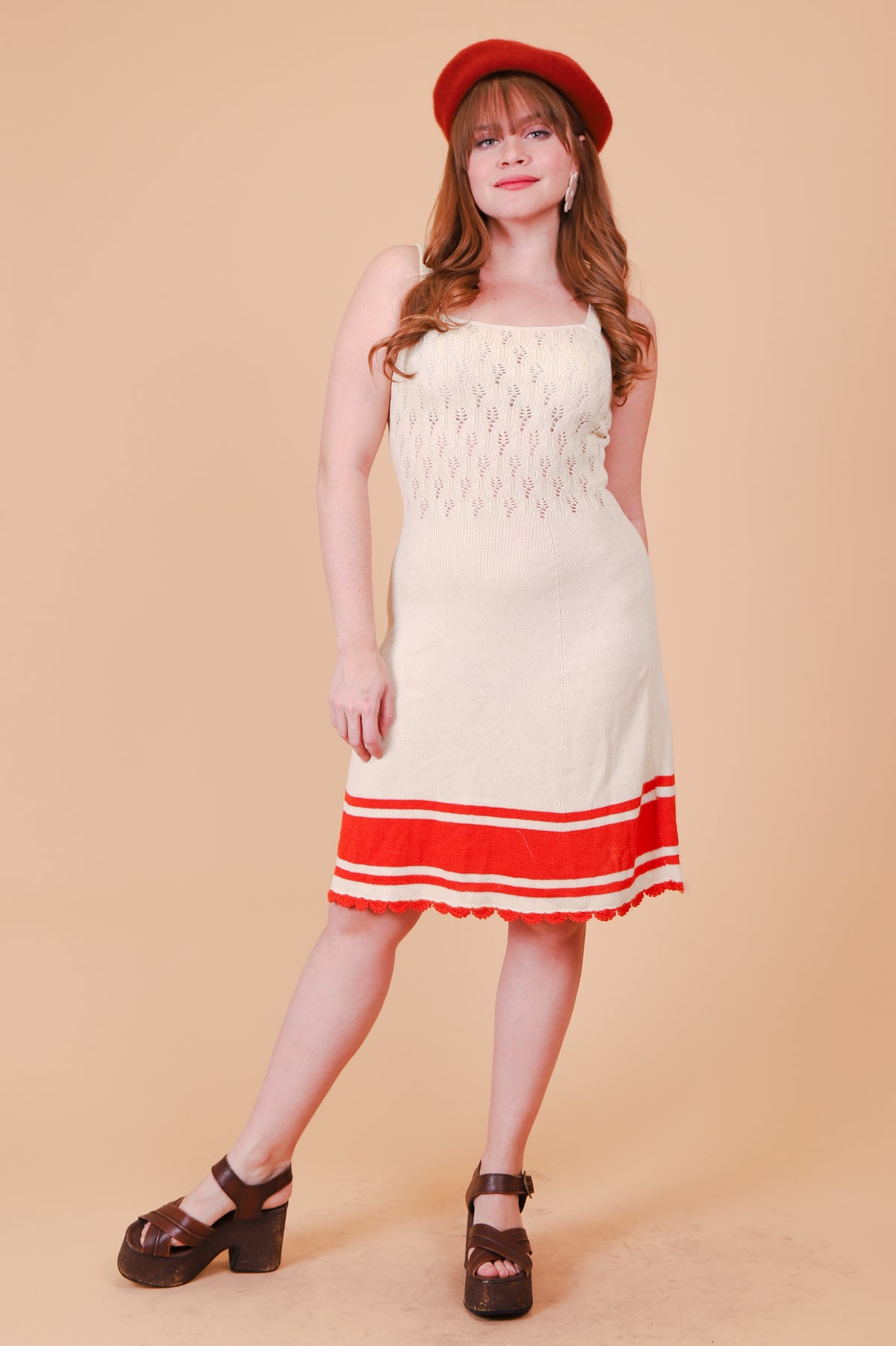 Vintage 1970's Cream of Wheat Cream Midi-Dress