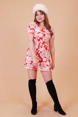 Vintage 1970's Magic Mushroom Tangerine Mini-Dress
