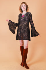 Vintage 1970's Rhiannon Black Lace Mini-Dress