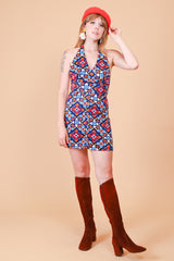 Vintage 1960's Lapis Kaleidoscope Mini-Dress