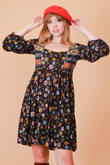 Vintage 1960's Mama Cass Floral Mini-Dress