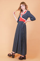 Vintage 1970's Mrs. Robinson Floral Maxi-Dress